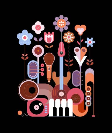 Multicolor design isolated on a black background Flowers and Musical Instruments vector illustration. Nice flowers grow from music instruments.
