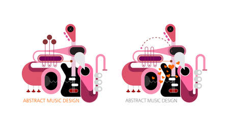 Colored design of various musical instruments isolated on a white background. Music instruments concept composition vector illustration. Guitar, saxophone and trumpets.