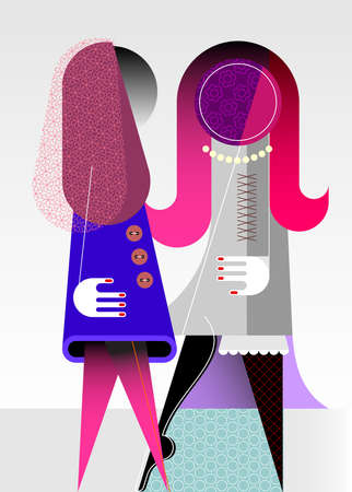 Two beautiful young women talking with each other. Modern art vector illustration.