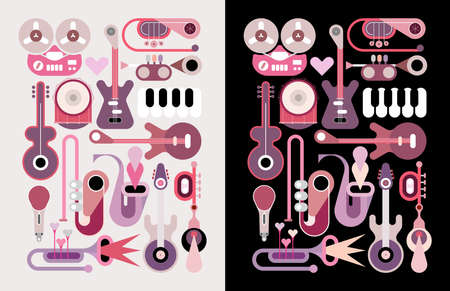 Music instruments vector icons. Set of colored design elements isolated on a light and on a black backgrounds. Vector EPS10 file, each icon is on a separate layer.