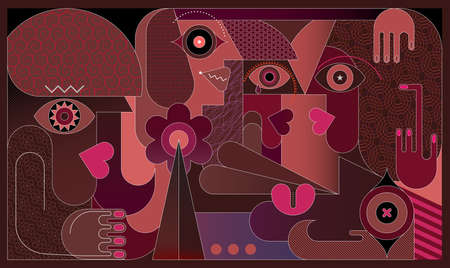 Modern art vector illustration of Group Of People. The women have not seen each other for a long time and now they are glad to meet.