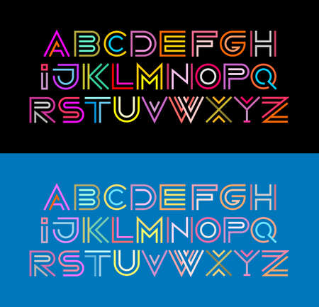 Colored line art typeface design isolated on black and light blue