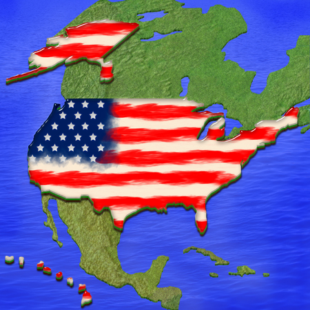 continente americano: 3D map of USA painted in the colors of USA flag, surrounded by land and sea background. Illustration of stylized jelly pie Foto de archivo