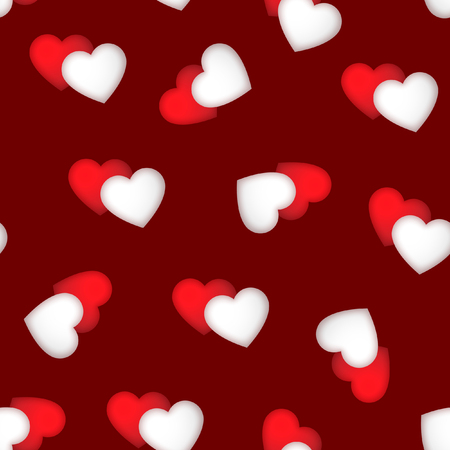 Valentines Day seamless pattern with pairs of hearts, red and white, vector background.