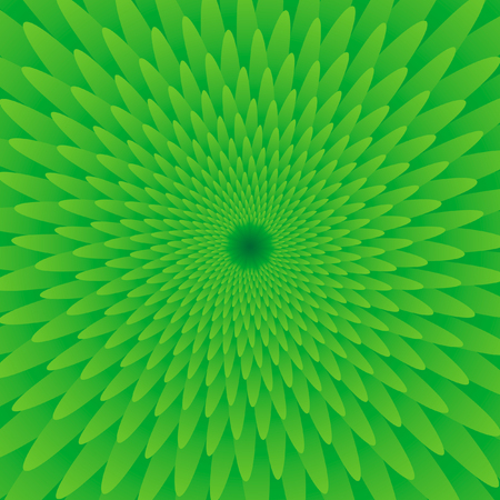 Abstract green optical illusion, creative vector background with gradient petals, movement simulation Illustration