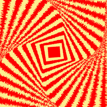 Abstract colorful optical illusion, creative vector background with red and yellow distorted stripes