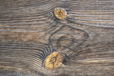 Old wooden planed board surface with knots and cracks, may be used as background Stok Fotoğraf