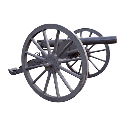 Old single barrel wheeled iron cannon of Russian army, 19th century
