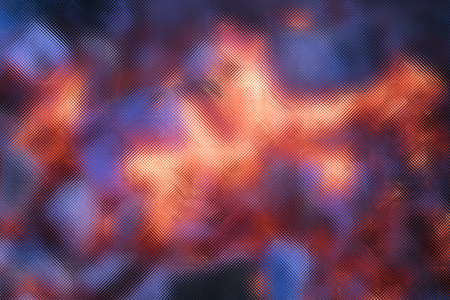 Blurred glowing hot coals and ash with glass screen effect, bright abstract background