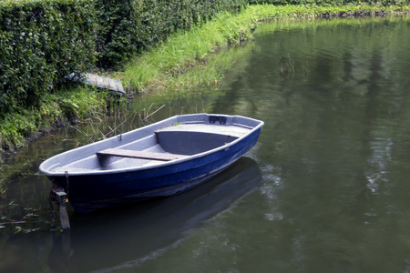 Single empty old blue boat moored in a green thickets on a turbid pond