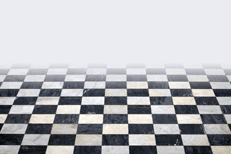 Antique checkered marble floor. Black and white tiled background with white top gradient