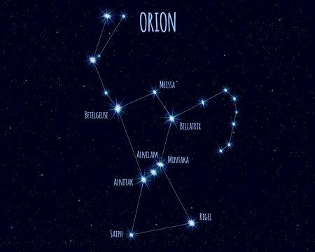 Costellazione di Orione, illustrazione vettoriale Vettoriali