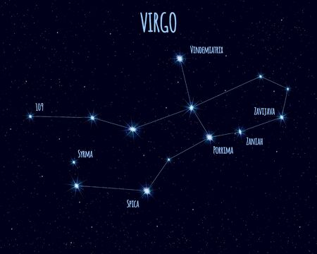 Virgo (The Virgin) constellation, vector illustration