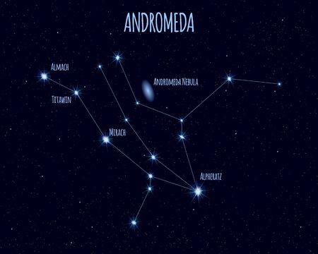 Andromeda constellation, vector illustration Иллюстрация