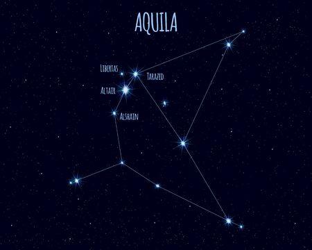 Aquila (The Eagle) constellation, vector illustration Иллюстрация