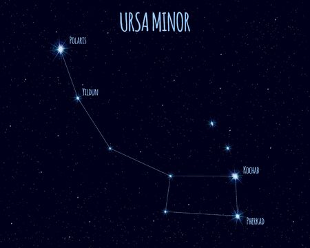 Ursa Minor (Little Dipper) constellation, vector illustration
