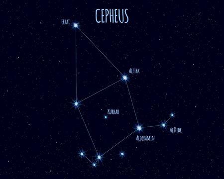 Cepheus constellation, vector illustration