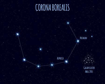Corona Borealis (Northern Crown) constellation, vector illustration