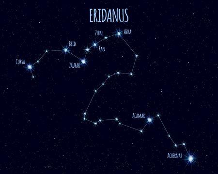 Eridanus constellation, vector illustration