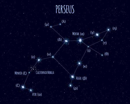 Perseus constellation, vector illustration Иллюстрация