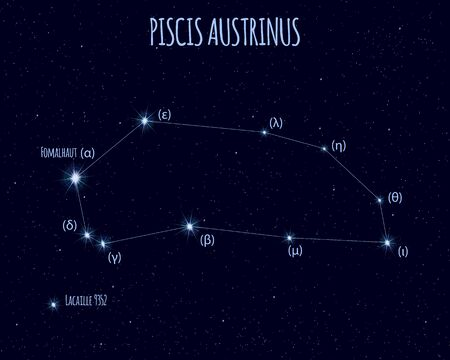 Piscis Austrinus (The Southern Fish) constellation, vector illustration
