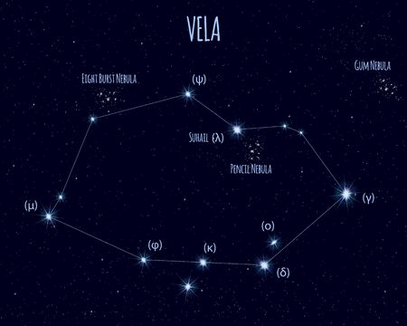 Vela (The Sails) constellation, vector illustration
