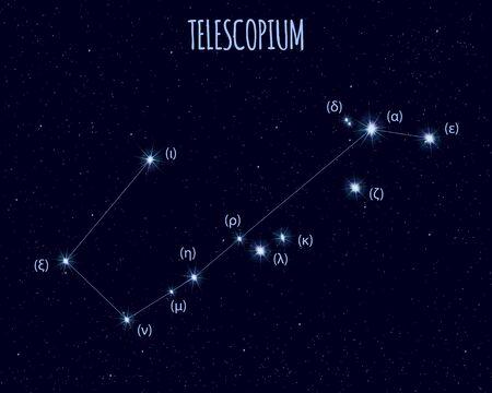 Telescopium (The Telescope) constellation, vector illustration