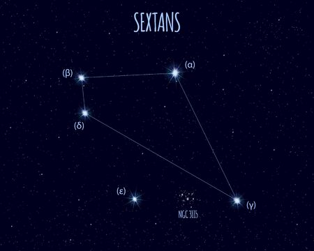 Sextans (The Sextant) constellation, vector illustration