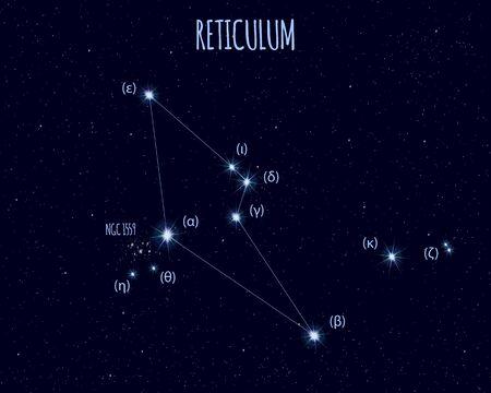 Reticulum (The Net) constellation, vector illustration Иллюстрация