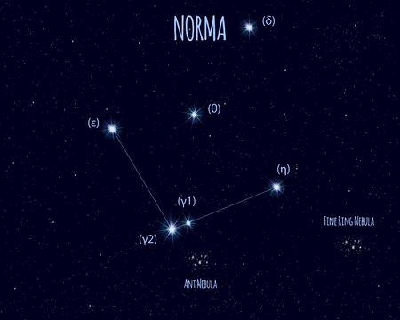 Norma (The Set Square) constellation, vector illustration Иллюстрация