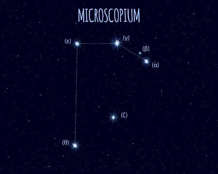 Microscopium (The Microscope) constellation, vector illustration Иллюстрация