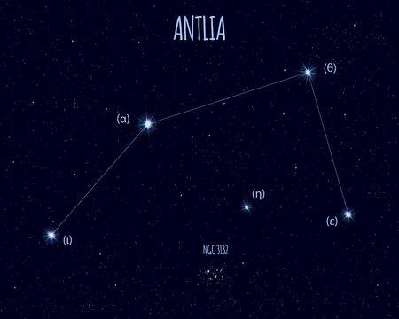 Antlia (The Air Pump) constellation, vector illustration