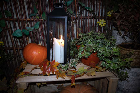 Street Halloween decoration with pumpkins, flower pots, rural fence and big candle