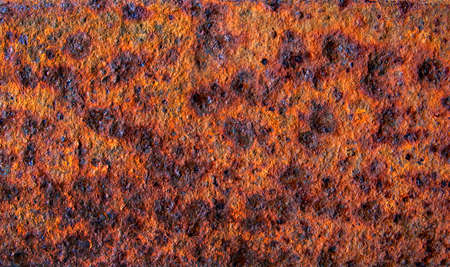 Old rusty stained metal sheet close up, metal texture or background Фото со стока