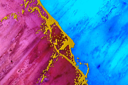 Creative bright abstract bicolor background with golden acrylic crack, fluid art design
