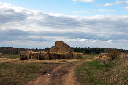 A pile of straw bales lying close to the sandy road against cloudy sky Фото со стока