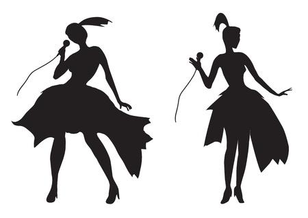 s�ngerin: Silhouette eines M�dchens Gesang isoliert auf wei� Illustration