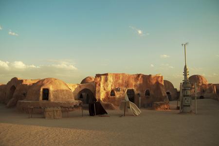 Star Wars decor in a desert. Tatooine planet settelment
