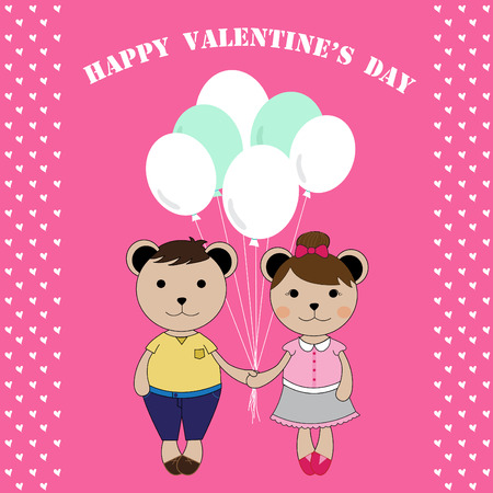 sweet couple: The illustration character.A sweet couple of bears on Valentine\\\\ Illustration