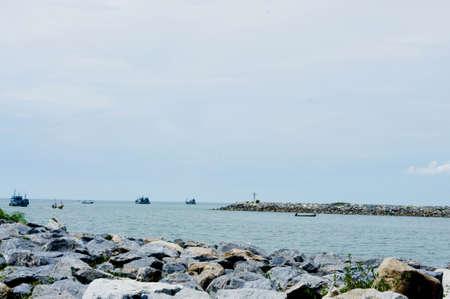 empedrado: piedra calzada pavimentada, el mar Foto de archivo