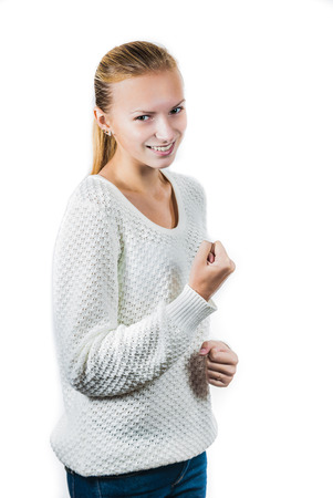 Young happy girl isolated on white photo