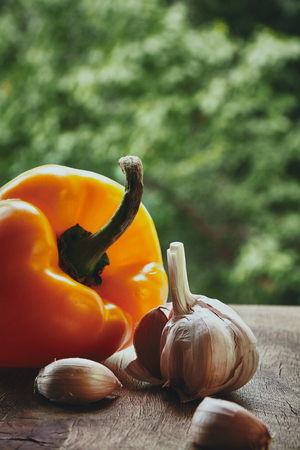 bulb and stem vegetables: Vertical photo of orange pepper, garlic bulb and cloves on the blured background