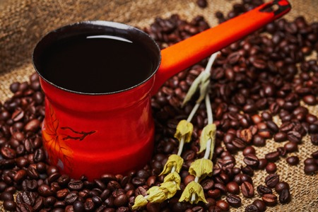 sprigs: Orange turkish coffee pot and sprigs of plant on grains and sackcloth