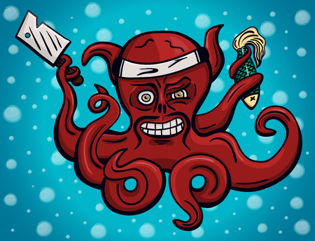 tentacles: Crazy chief octopus in hachimaki Japanese headband with cooks knife and dead fish in its tentacles Illustration
