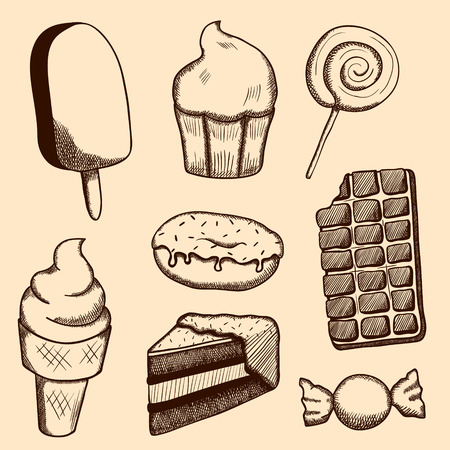 Hand drawn illustrations of ice cream, cake, candy, donut, chocolate bar, cupcake, piece of pie and lollipop