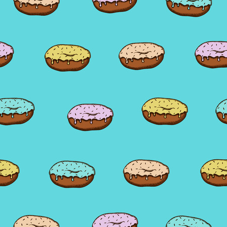 glaze: Seamless pattern with colorful donuts with glaze and sprinkles on blue background Illustration