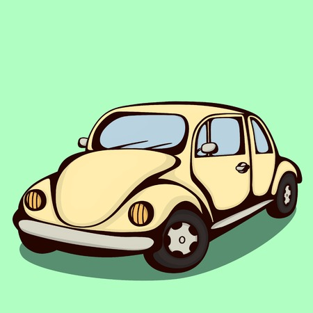 rearview: Vector colored retro car made in cartoon style.