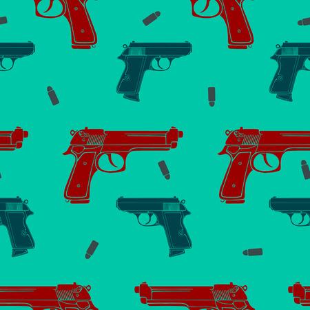 銃や弾丸のシルエットの色銃シームレス パターン  イラスト・ベクター素材