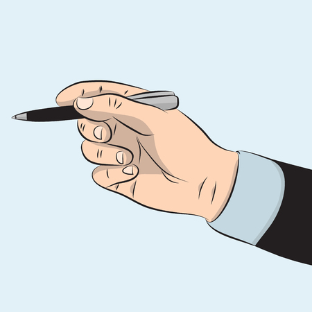 Mans hand in suit holding metal pen