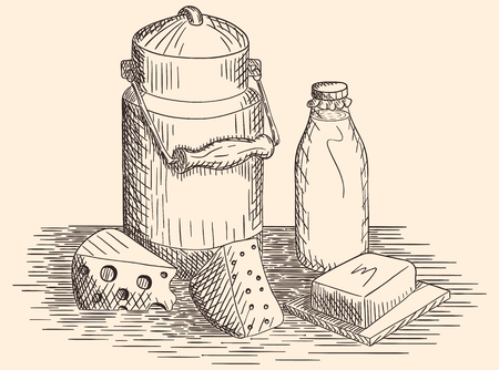Hand drawn dairy products and milk
